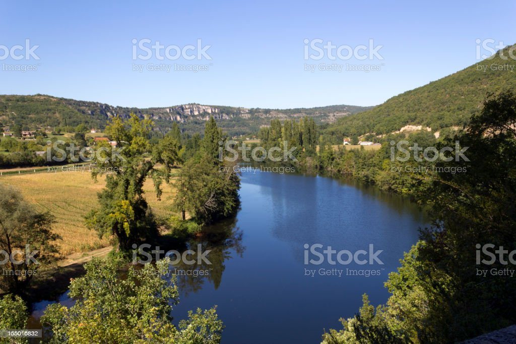 River Lot flowing through rural countryside near Cajarc, France, Europe stock photo