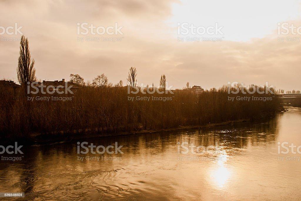 River Maritsa in Plovdiv town stock photo