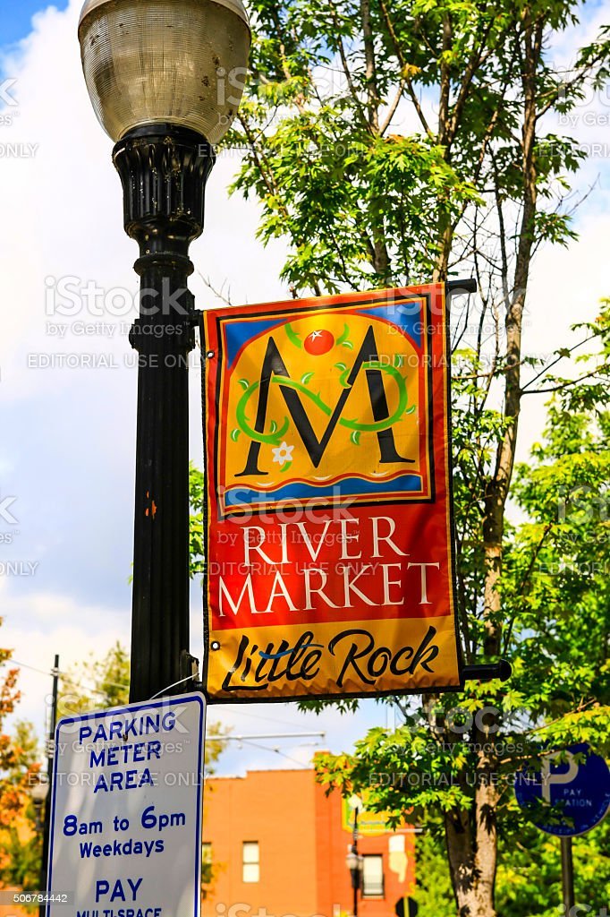 River Market district banner in Little Rock, Arkansas stock photo