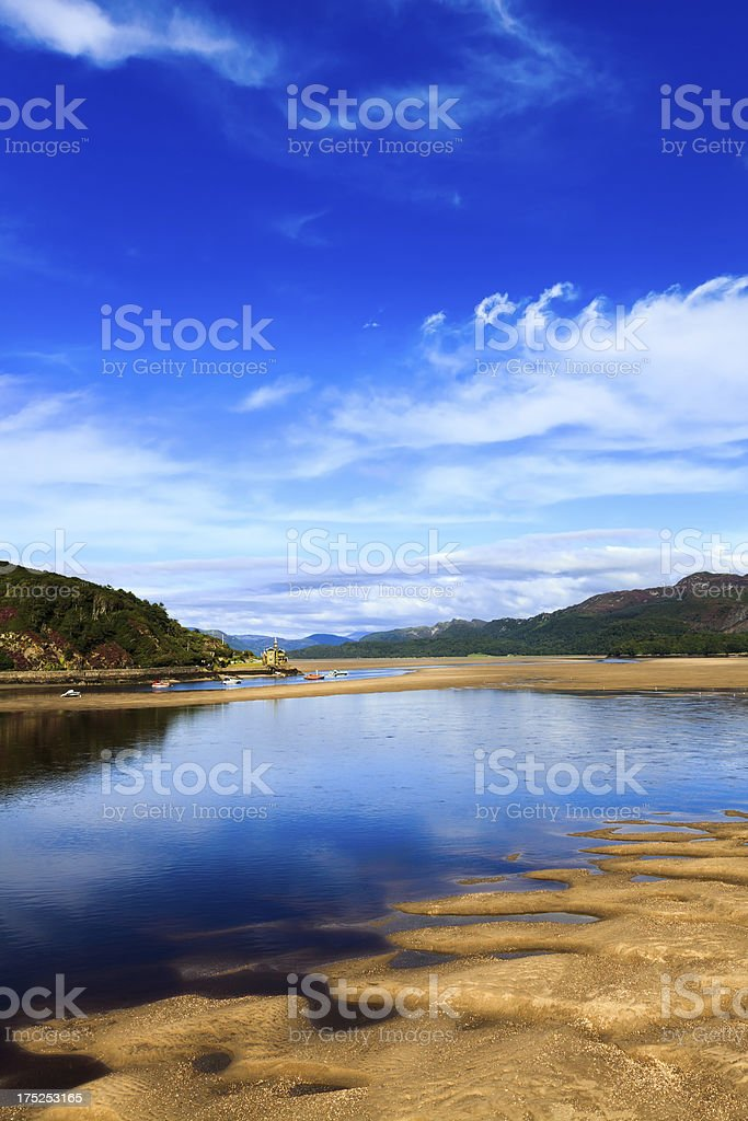 River Mawddach estuary at Barmouth, Wales stock photo