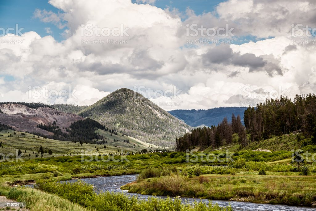 River Mountains Forrest of Yellowstone National Park royalty-free stock photo