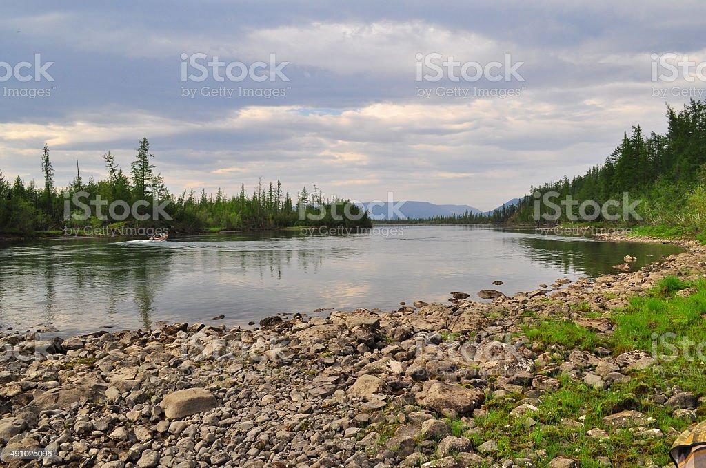 River Muksun, the Putorana plateau. stock photo