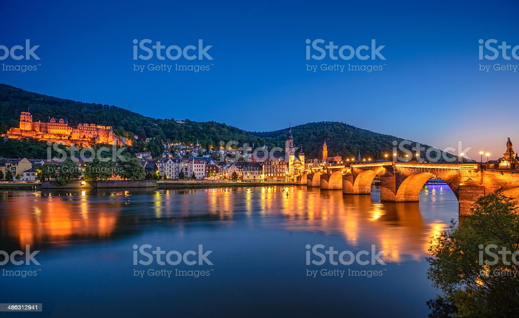 River Nekar and skyline of Heidelberg stock photo