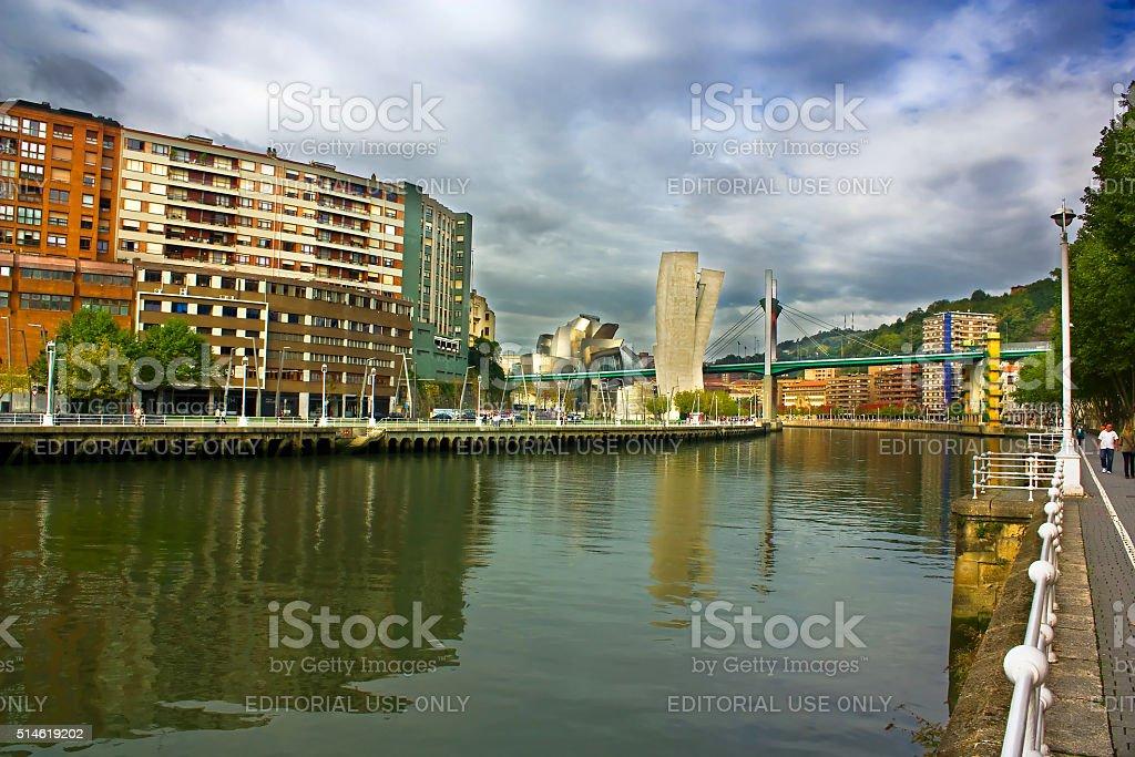 River Nervion, Bilbao, Spain stock photo