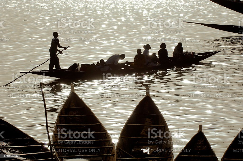 River Niger Silhouettes royalty-free stock photo