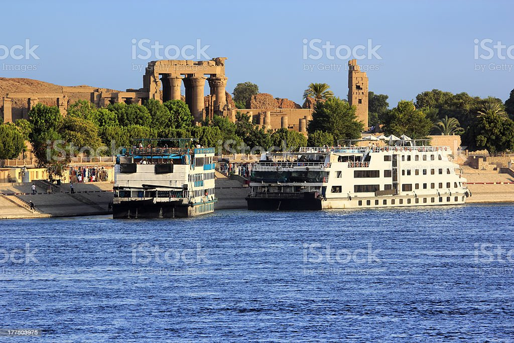 River Nile cruise ships stock photo