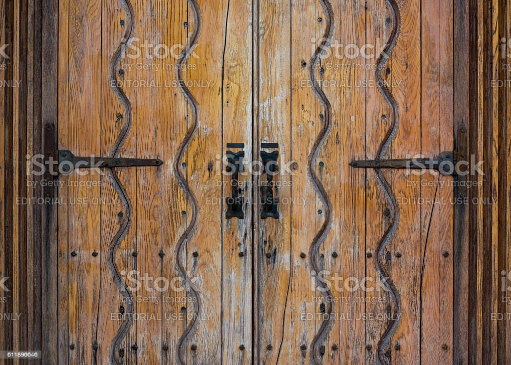 River of Life pattern on Mission door stock photo