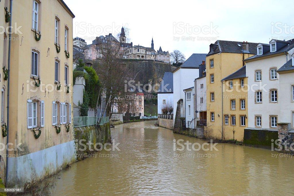 Río de la ciudad de Luxemburgo foto de stock libre de derechos