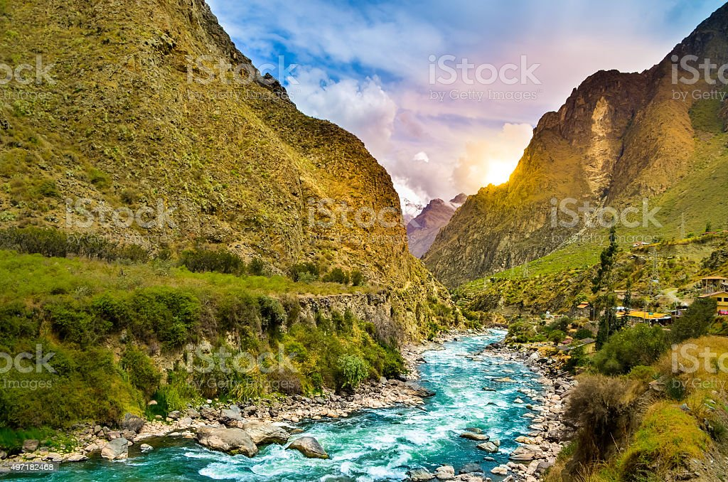 River on the mountains stock photo