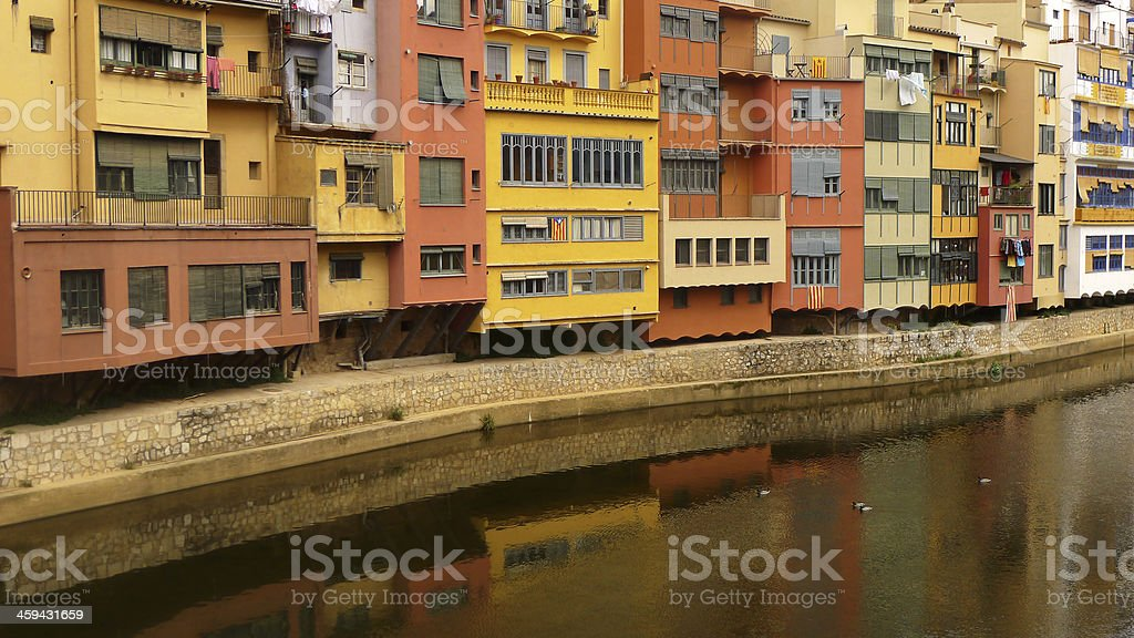 River Onyar in Girona stock photo