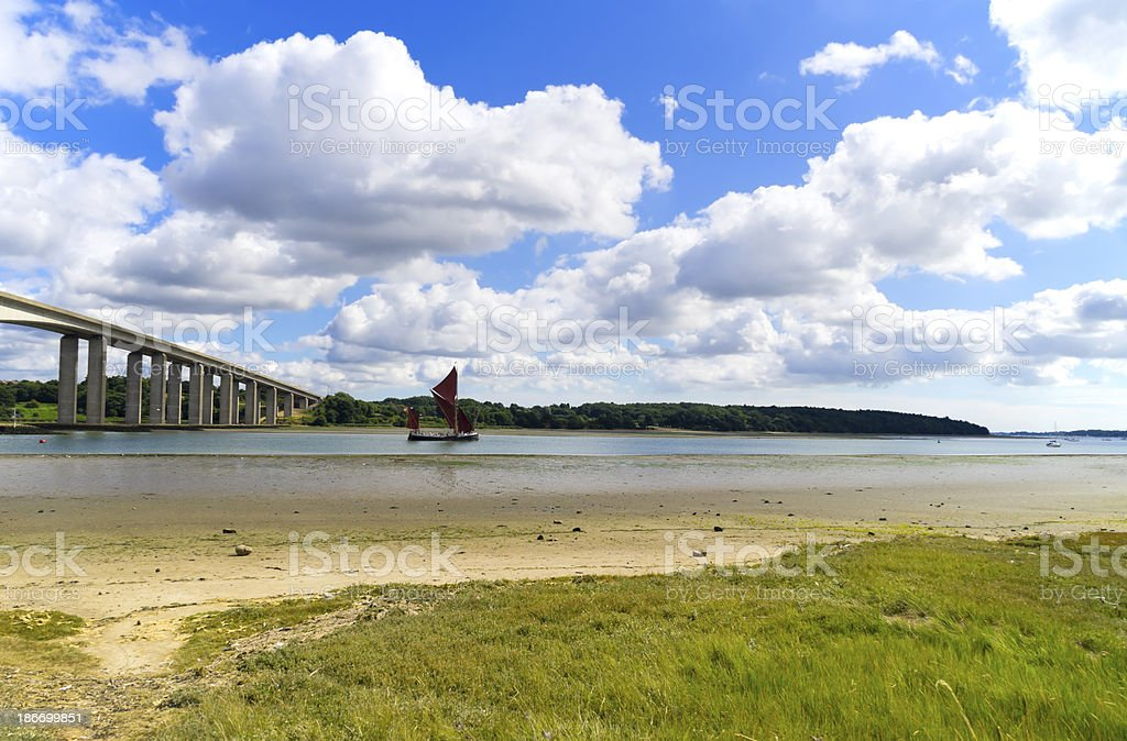 River Orwell with wherry stock photo