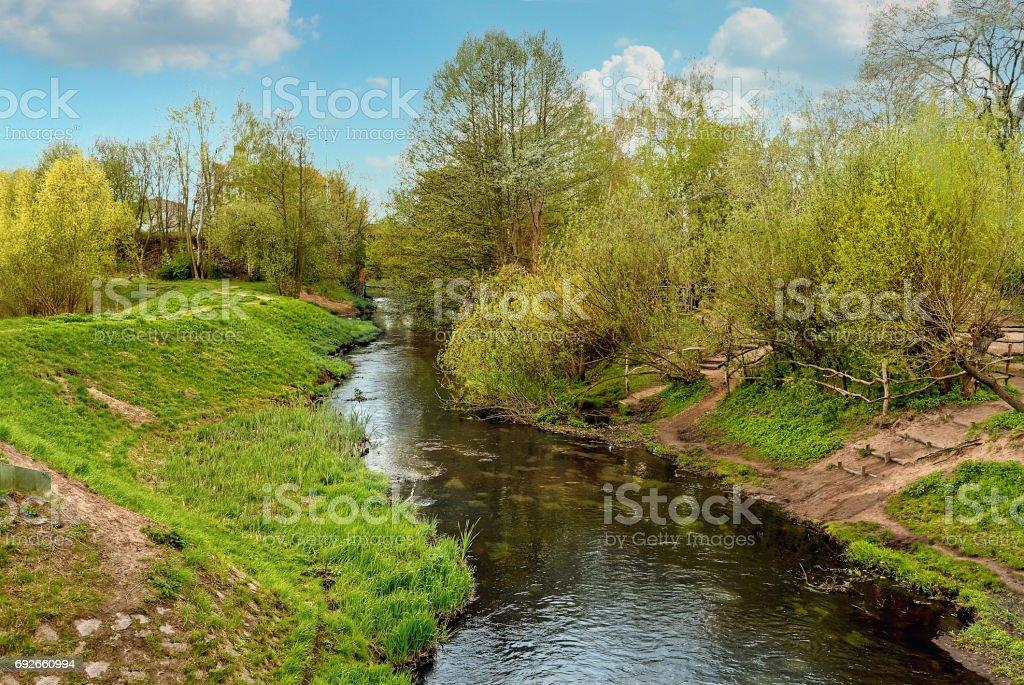 River Panke in Pankow, Berlin, Germany stock photo