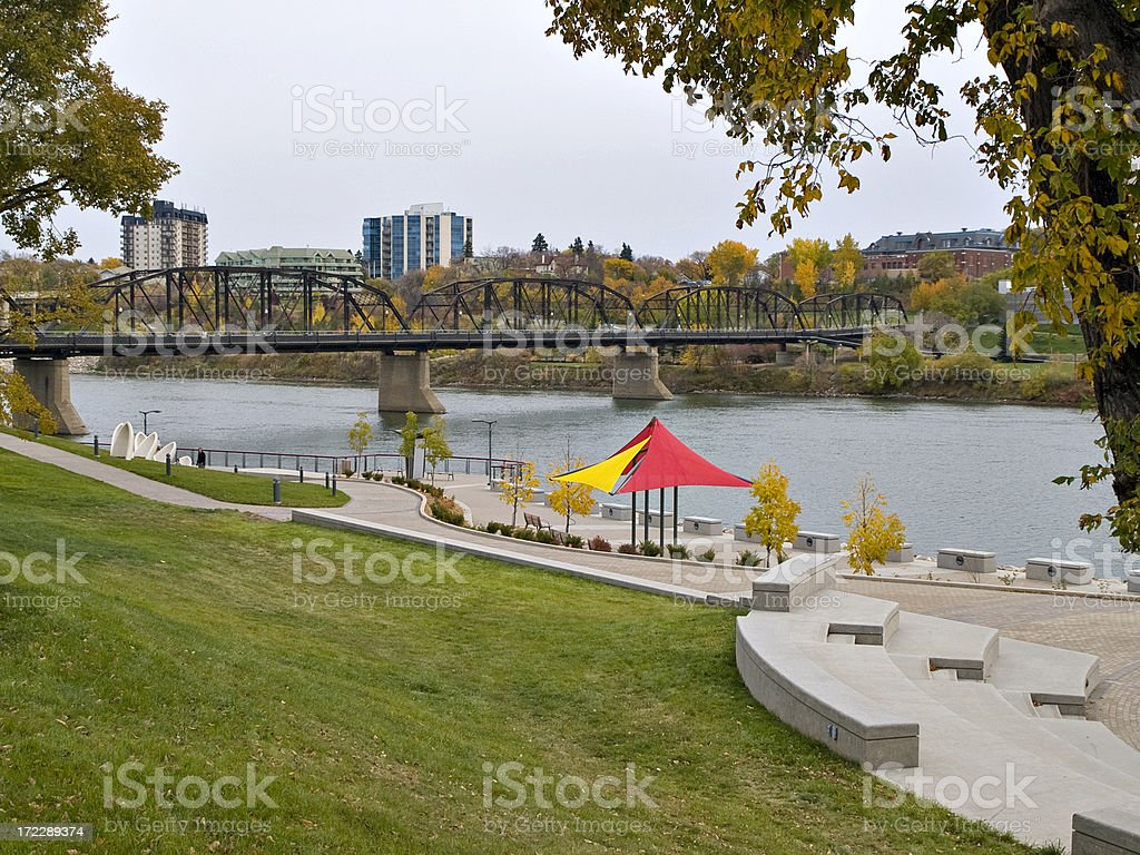 River Park in Downtown Saskatoon stock photo