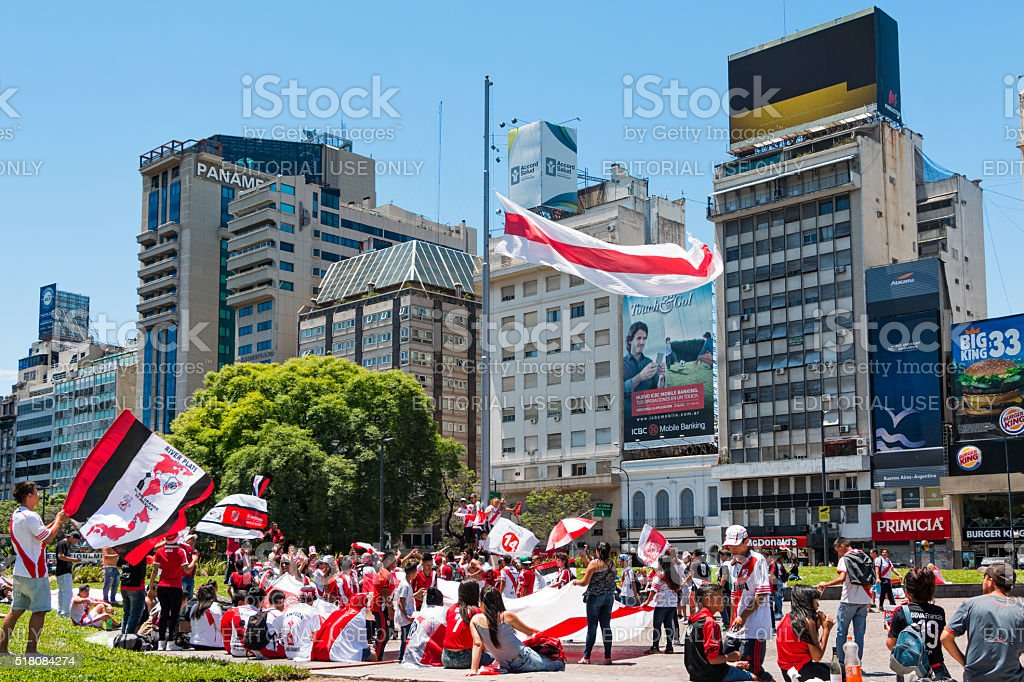 River Plate Football Fans in Buenos Aires Argentina stock photo