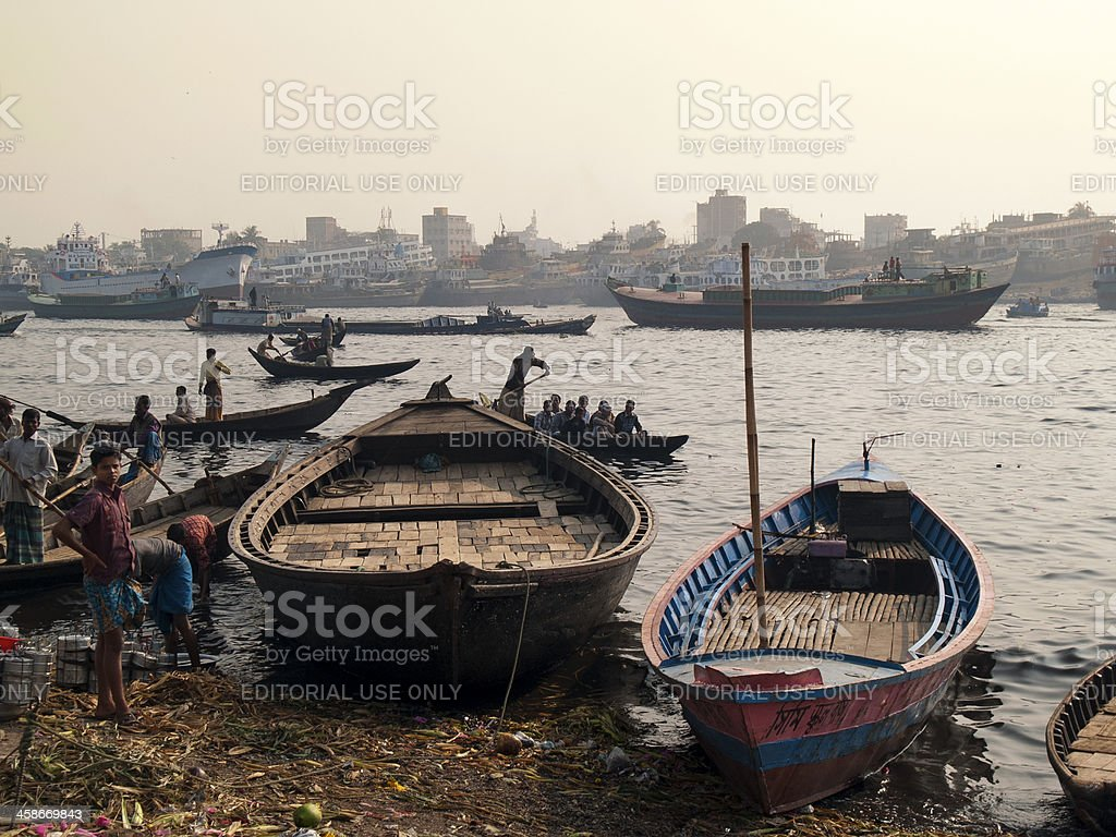 River pollution and environmental degradation in Dhaka stock photo