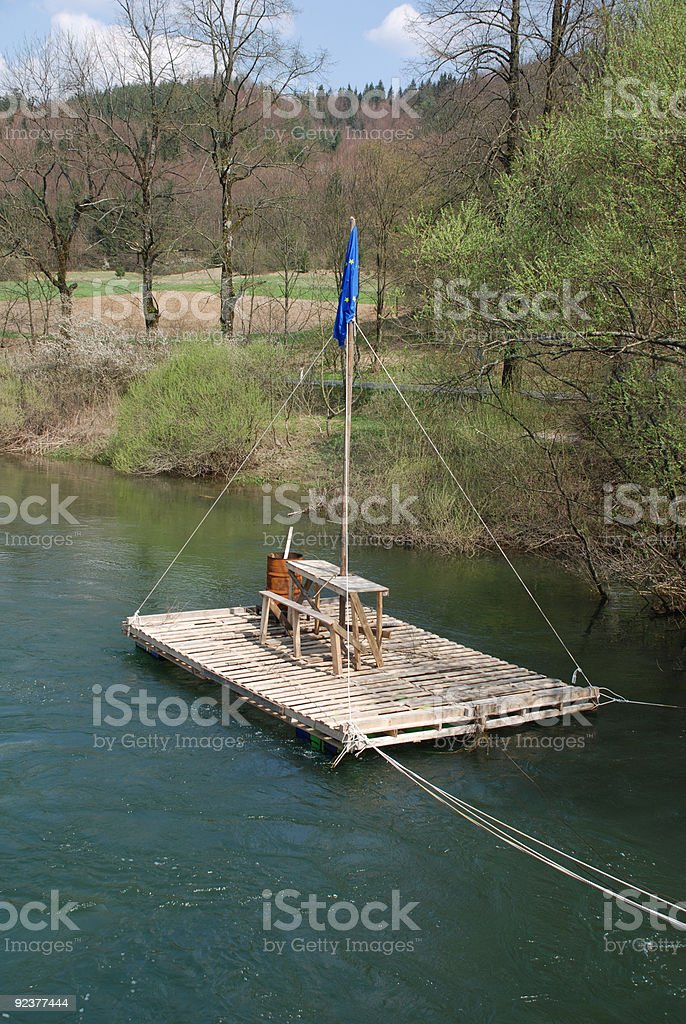 River Raft near Planina, Slovenia stock photo