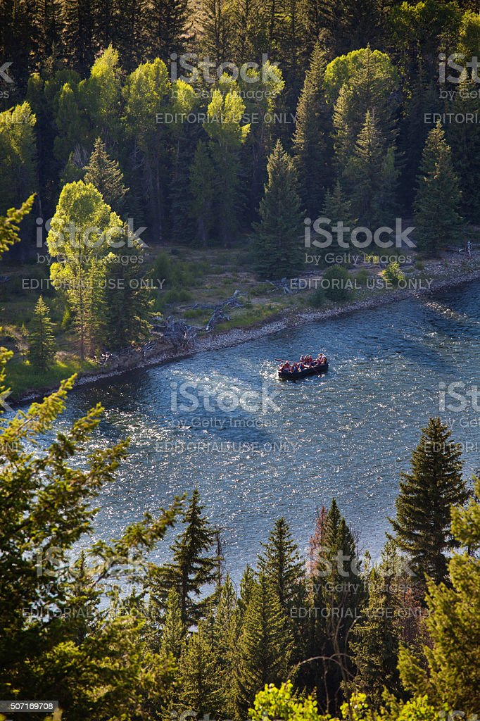River Rafting in the Snake River, Grand Teton National Park stock photo