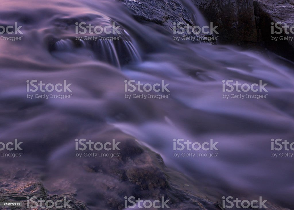 River rapids close up at dusk stock photo