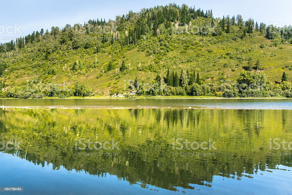 River Reflection in Siberia stock photo