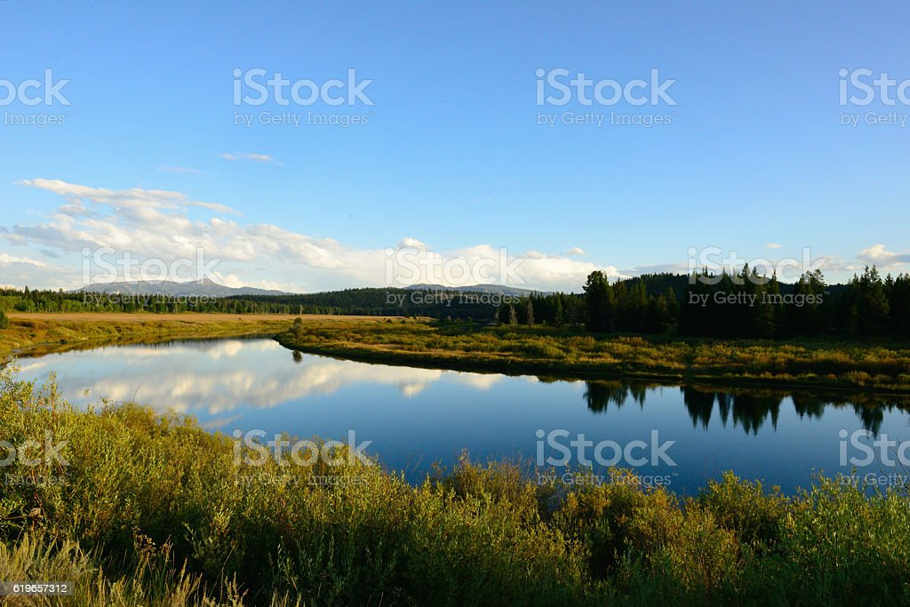 River Reflections at Oxbow Bend Wyoming USA stock photo