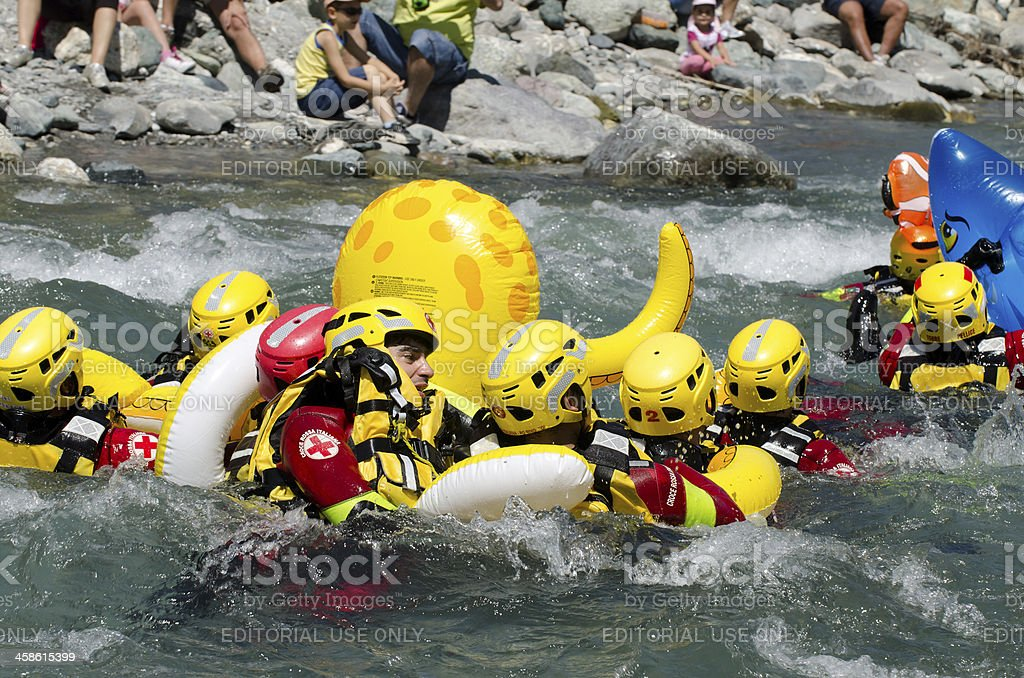 River rescuers team and inflatable Octopus royalty-free stock photo