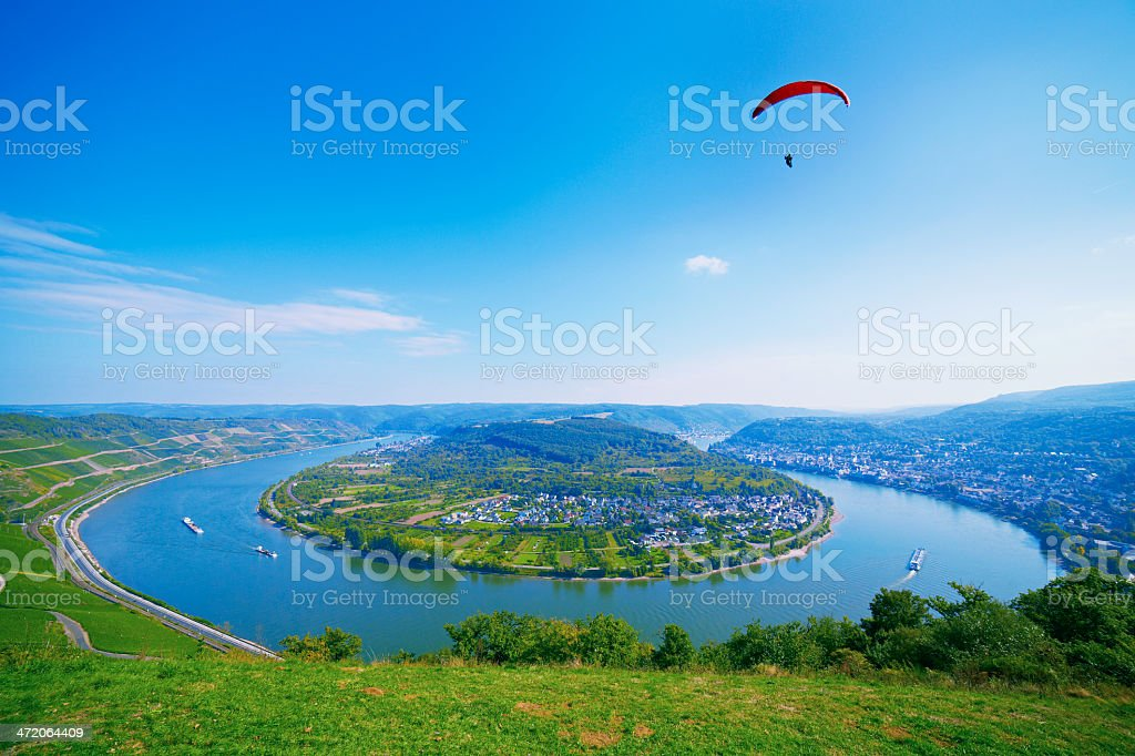 River rhine loop at Boppard with a hang glider stock photo
