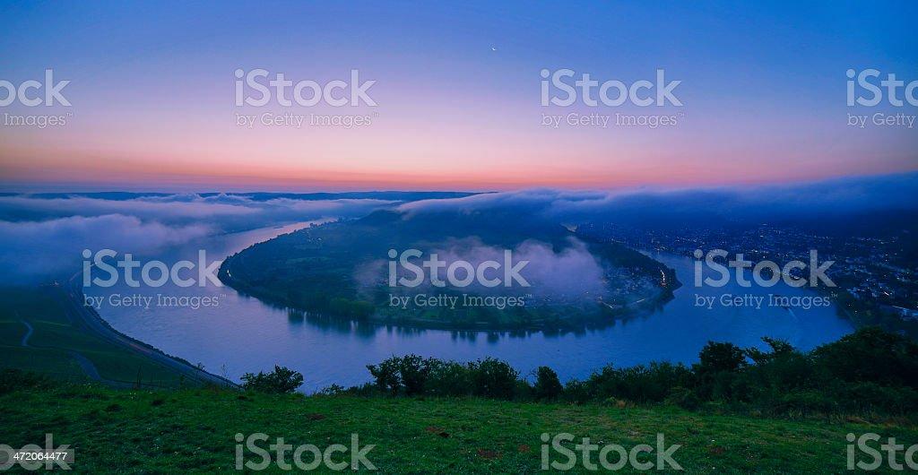 River rhine loop at sunset - boppard stock photo