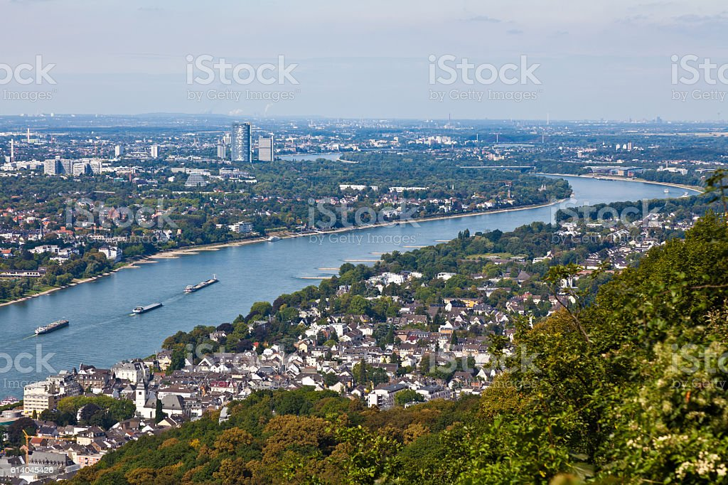 River Rhine near by Bonn and Königswinter stock photo