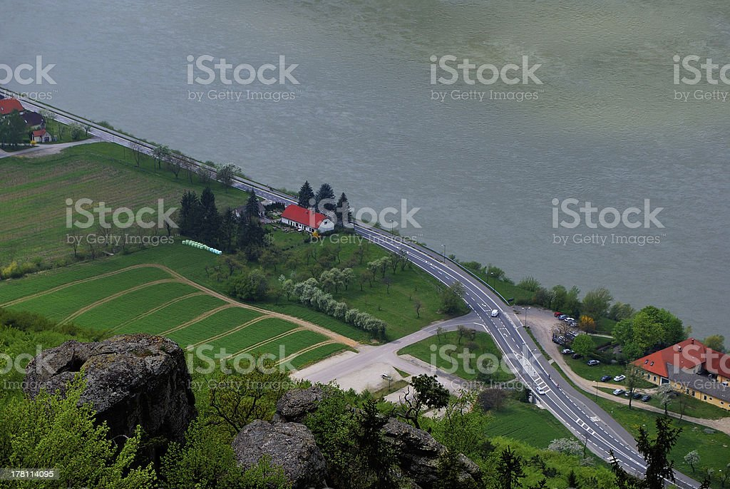 river road and fields royalty-free stock photo