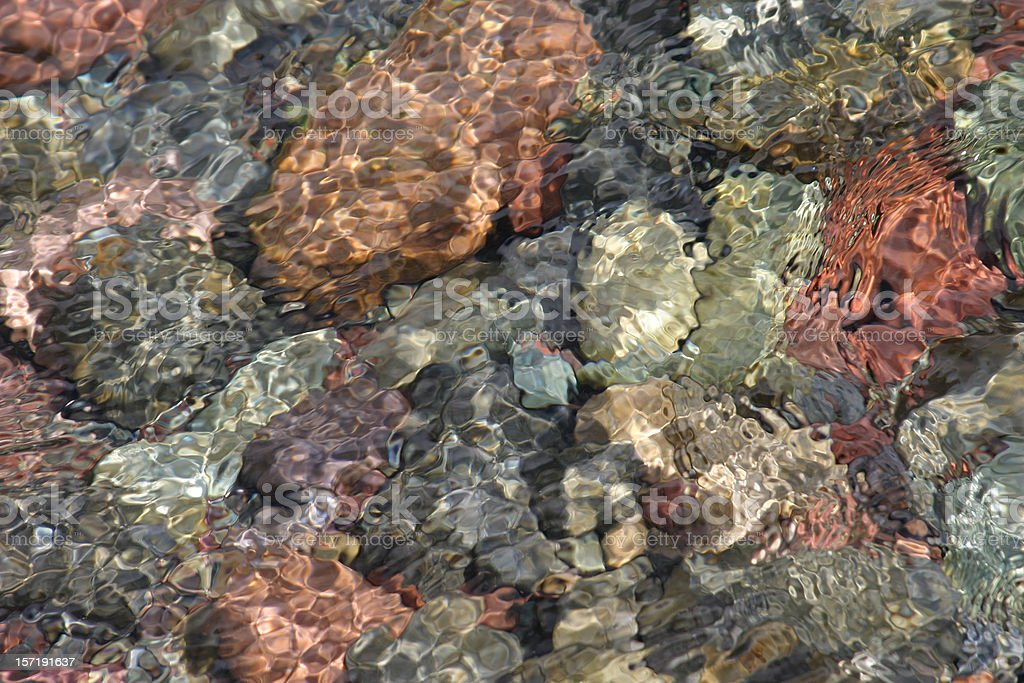 River Rocks under Reflective Water, pretty, colorful stock photo
