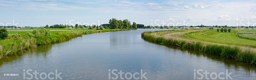 River rotte with polders right and left down below stock photo