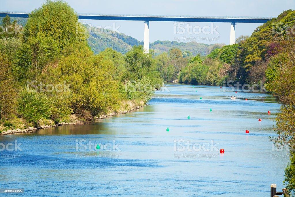 River Ruhr and Ruhrtalbridge stock photo