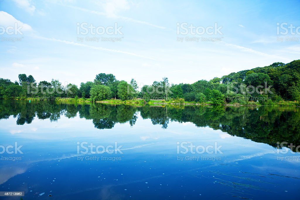 River Ruhr and valley in summer stock photo