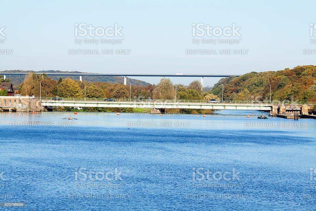 River Ruhr, dam and bridges in autumn stock photo