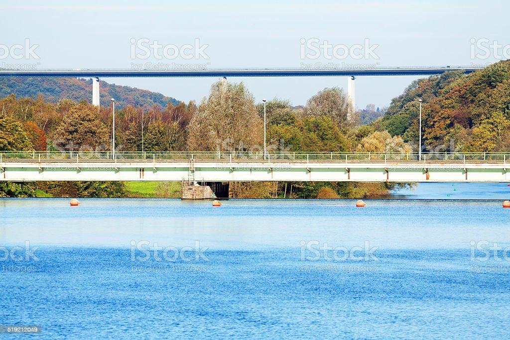 River Ruhr, dam and bridges stock photo