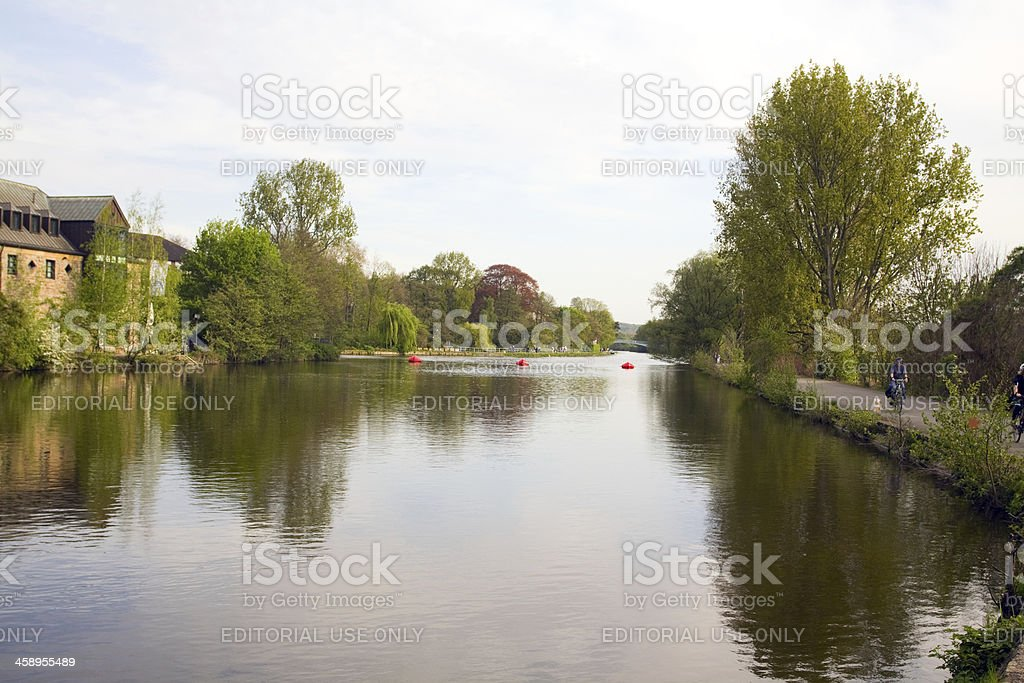 River Ruhr in Mülheim city stock photo
