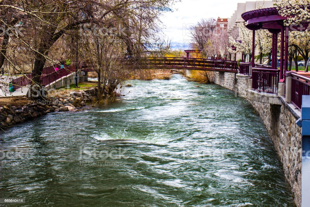 River Rushing In Downtown Area stock photo