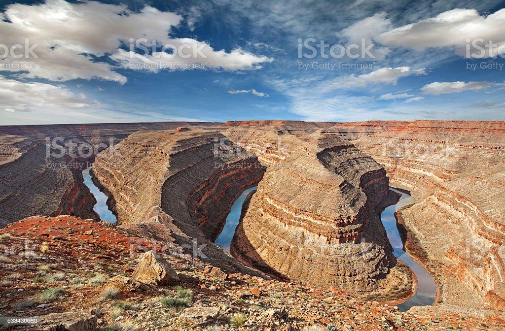 river san juan bends in goosenecks state park stock photo