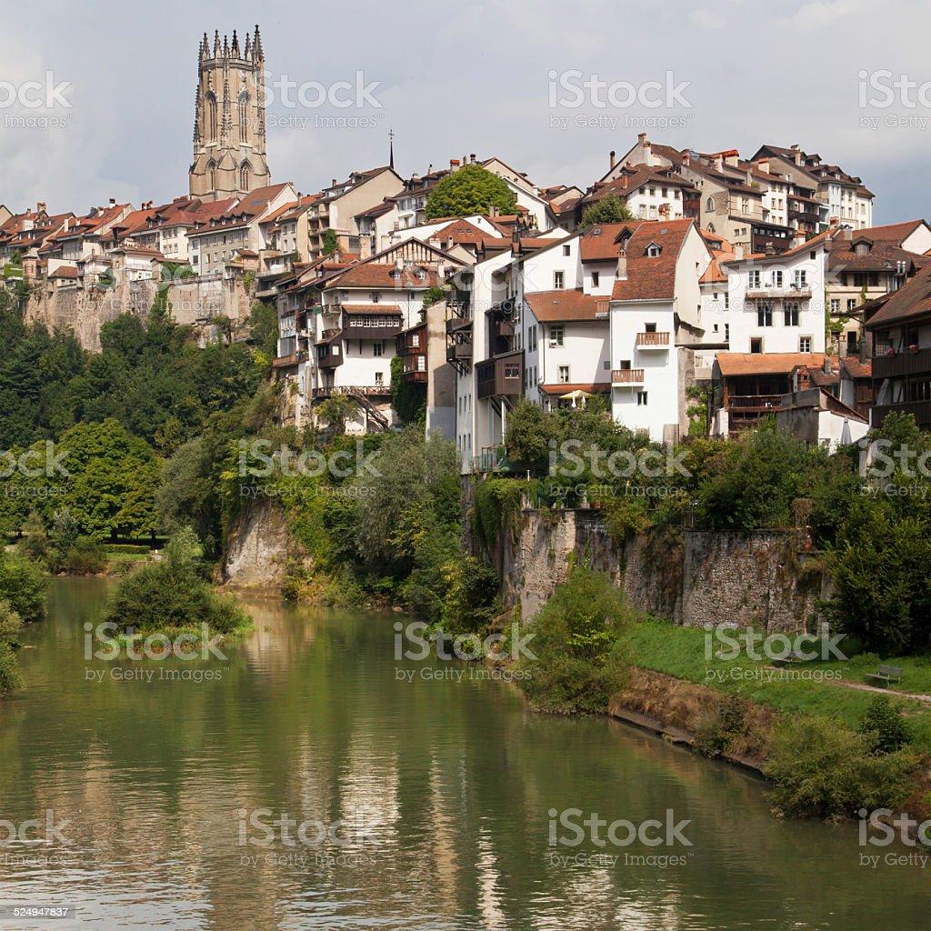 River Sarine through Fribourg stock photo