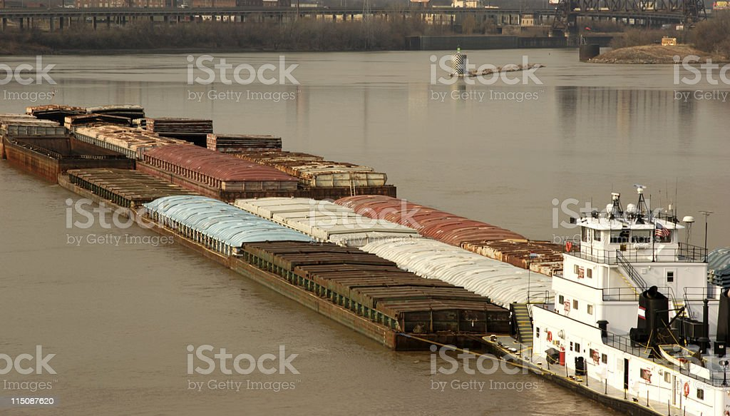 river scenes - loaded barge stock photo