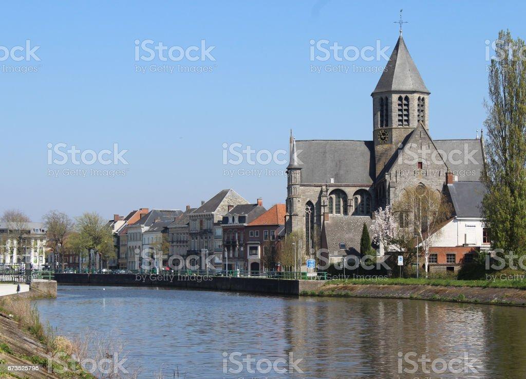 River Schelde, Oudenaarde, Belgium stock photo