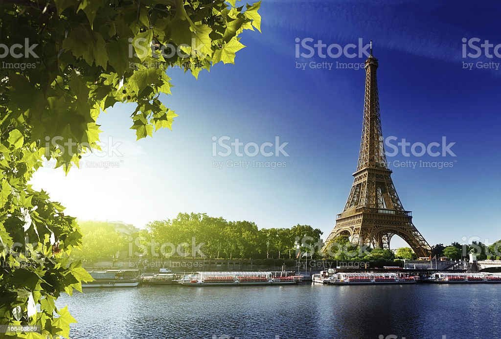 River Seine and the Eiffel Tower in Paris stock photo