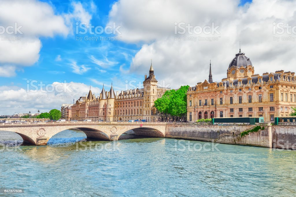 River Seine, Registry of the Paris Commercial Court and Bridge of Changed in Paris. France. stock photo