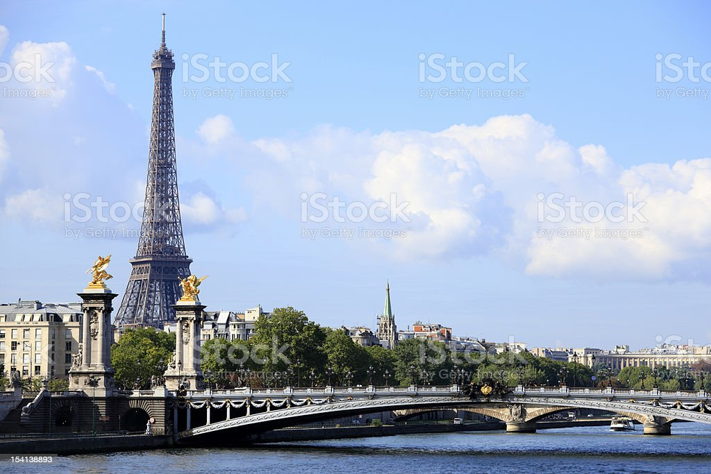 River Seine with Eiffel Tower stock photo