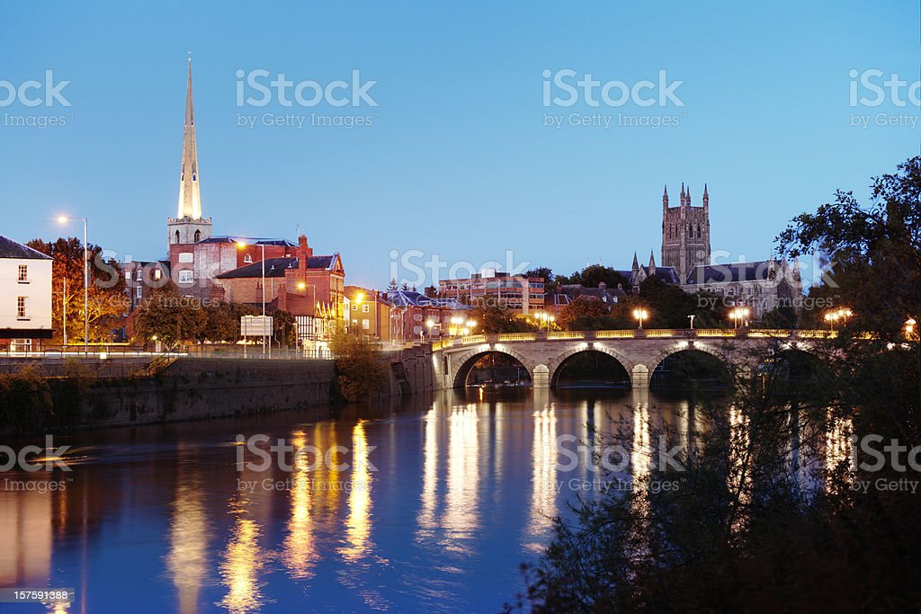 River Severn view  and Cathedral at Worcester stock photo