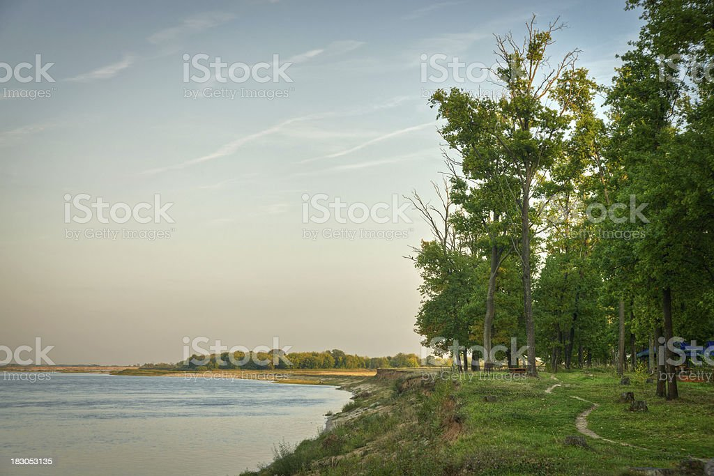 River shore at sunset royalty-free stock photo