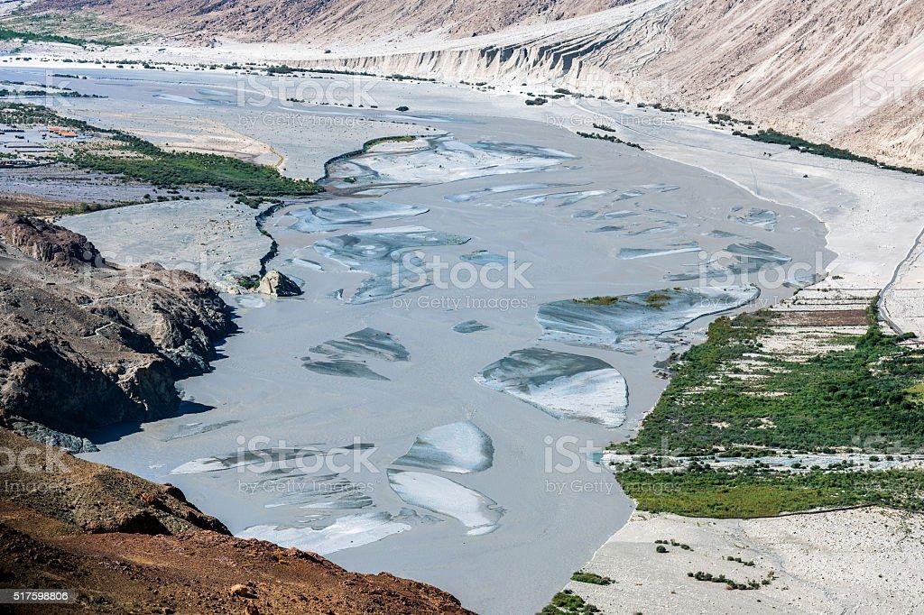 River Shyok in Nubra Valley Ladakh India stock photo