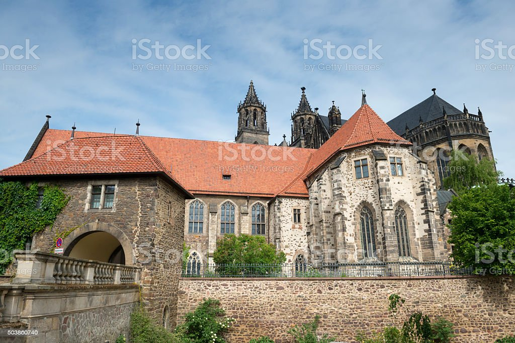 River side of Magdeburg Cathedral stock photo