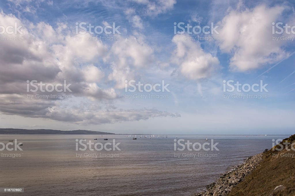 River side view - River Dee and Welsh Coast Wirral UK stock photo