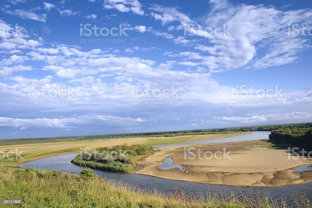 Rzeka, niebo, piasek zbiór zdjęć royalty-free